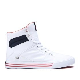Supra Womens ALUMINUM White/Navy/white High Top Shoes | CA-13160